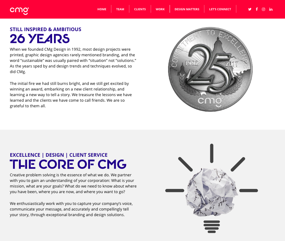 CMg Design 26 Yrs and Core