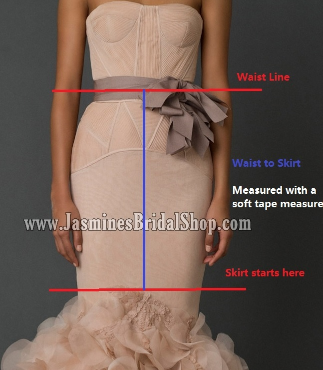 Waist to Skirt for the front only  (Only for skirts that start with horizontal or slanted seams below the hips)  From waist line (thinnest part of your upper torso) to the start of the skirt in the front center. we will estimate the sides and back according to original design. No need to provide this measurement.