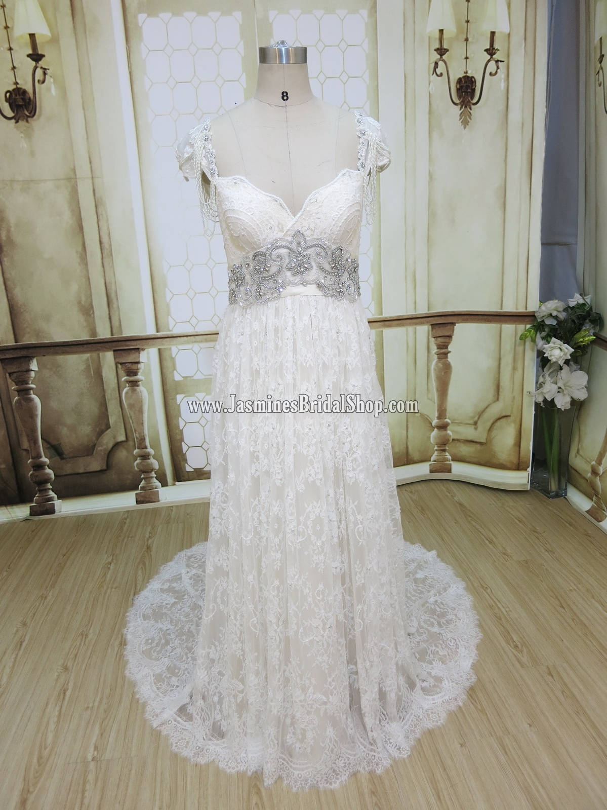 Order #3457: This delicate dress was made in Light Champagne color (#70) with lace in Off White (#69) and silver beading. Also, as opposed to the original design, customer brilliantly substituted the shoulder beading with pearls.