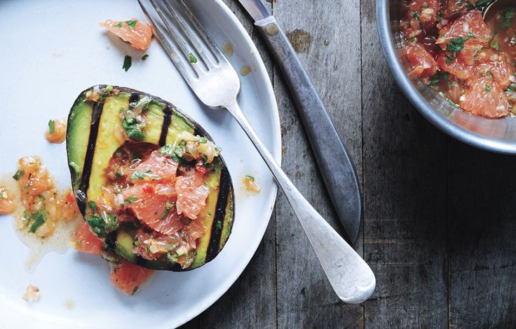 grilled avocado with grapefruit chermoula // bon appetit