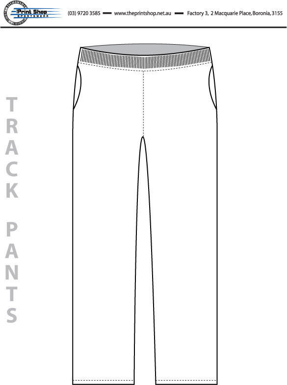 The Print Shop Track Pants Template