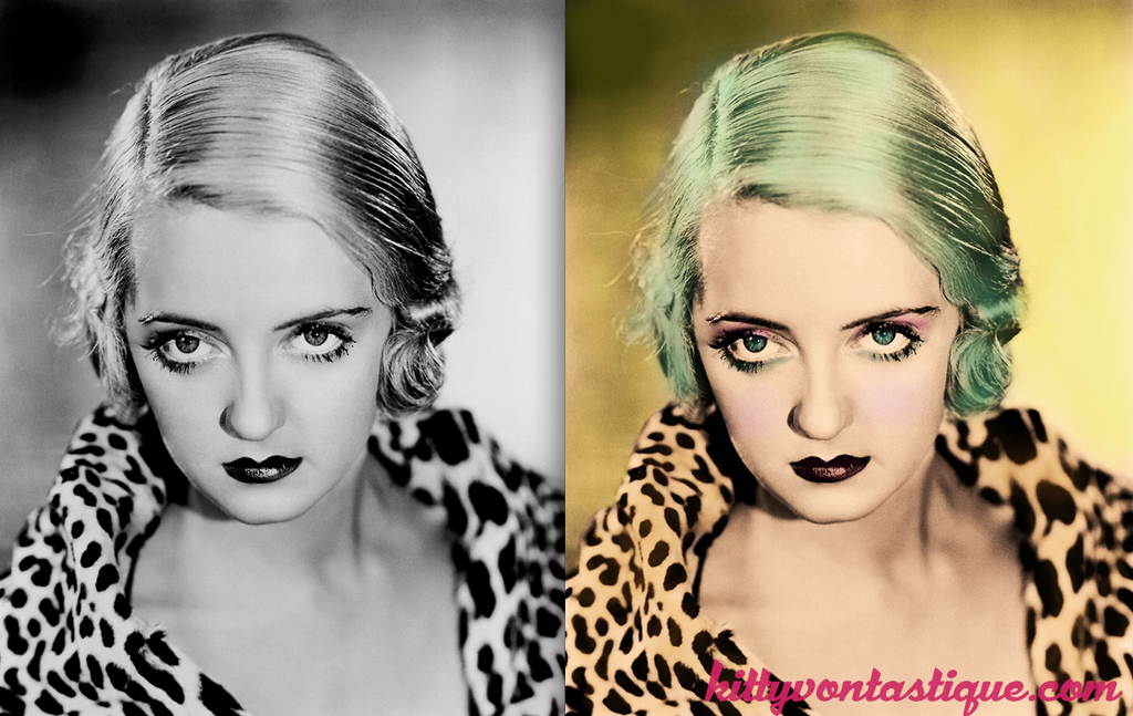 Betty Davis - With mermaid green hair and her leopard print brought to life
