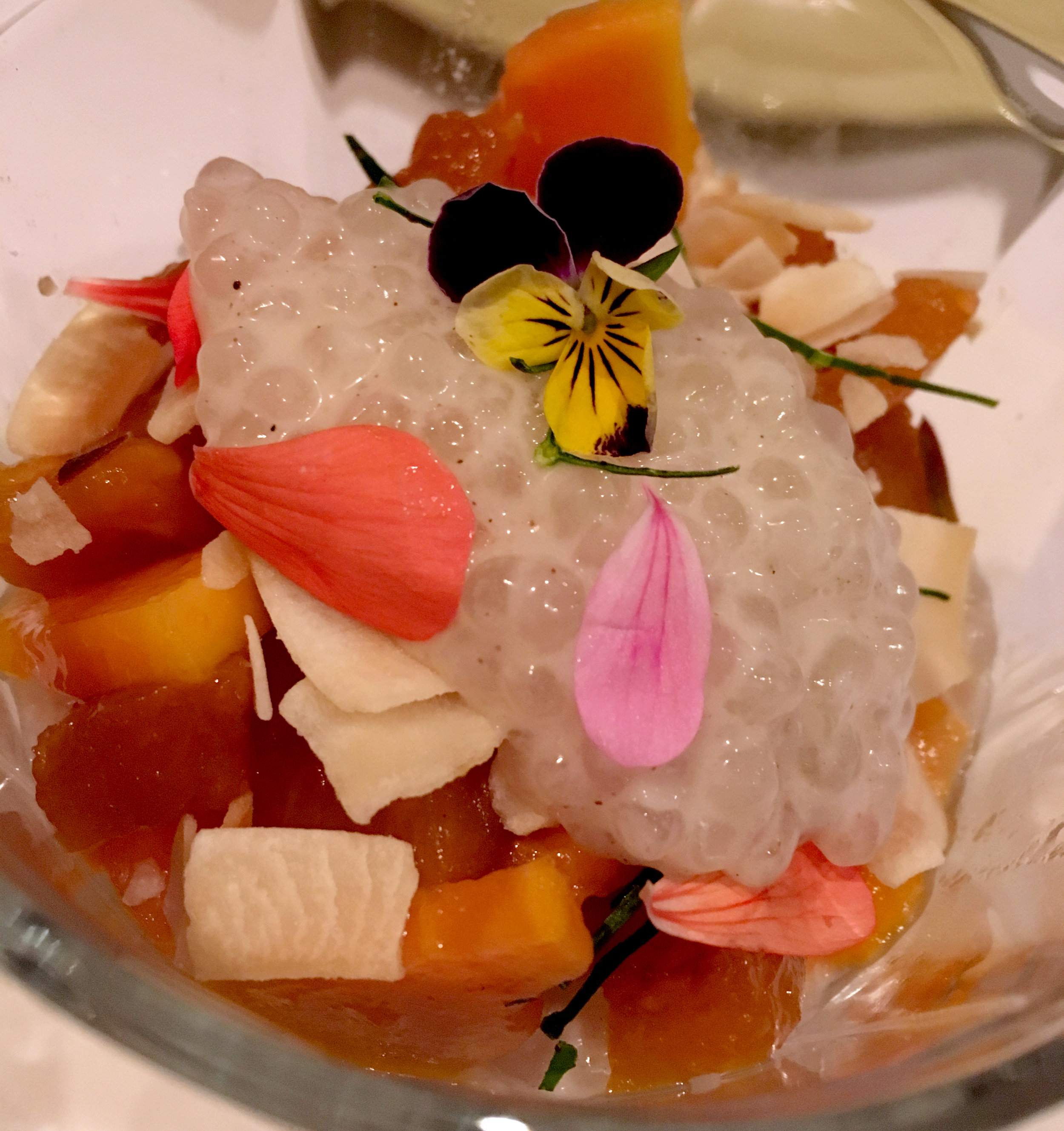 Amazing dessert at Palette Dining with homegrown flowers.