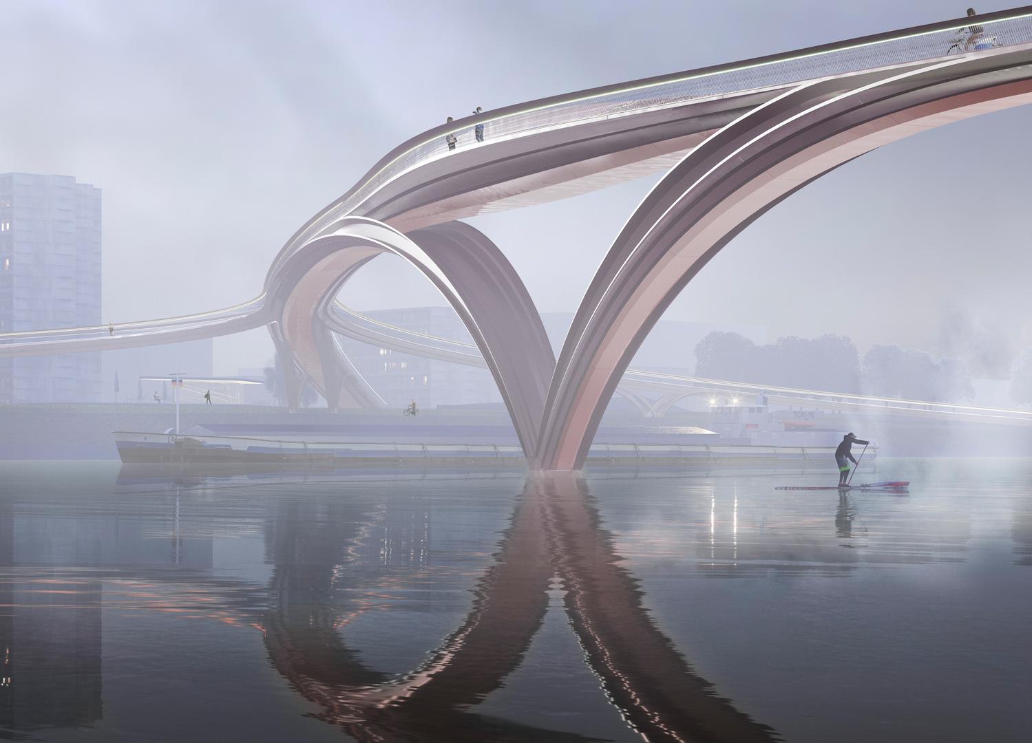 Infrastruktur - Rad-und Fußgängerbrücke, Heidelberg, Deutschland