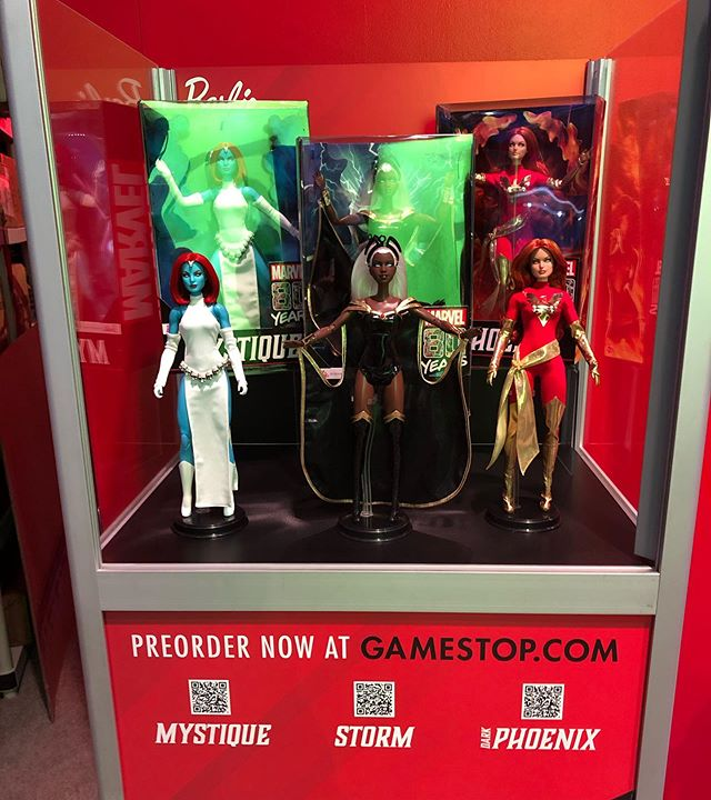 From Mattel designer Bill Greening's  instagram  - the SDCC stand of the Marvel Barbies