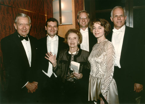 (From left to right) Grant Johannesen, Philippe Bianconi, Gaby Casadesus, Fritz Gearhart, Mimi Stillman, and John Owings pictured after Casadesus Centennial Concert at Weill Recital Hall at Carnegie Hall.