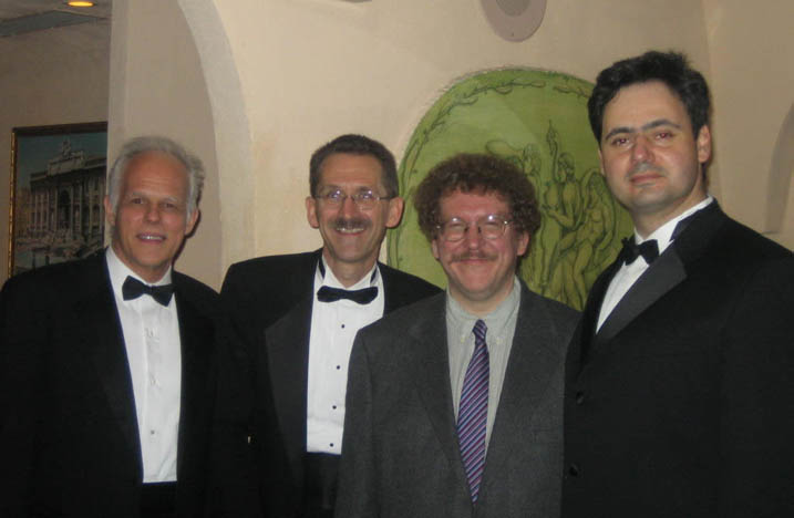 Composer Eric Ewazen (second from right) with Trio Con Brio members John Owings, Gary Whitman and Misha Galaganov following their performance of the world premiere of his Trio for Clarinet, Viola and Piano at Carnegie Hall's Weill Recital Hall.