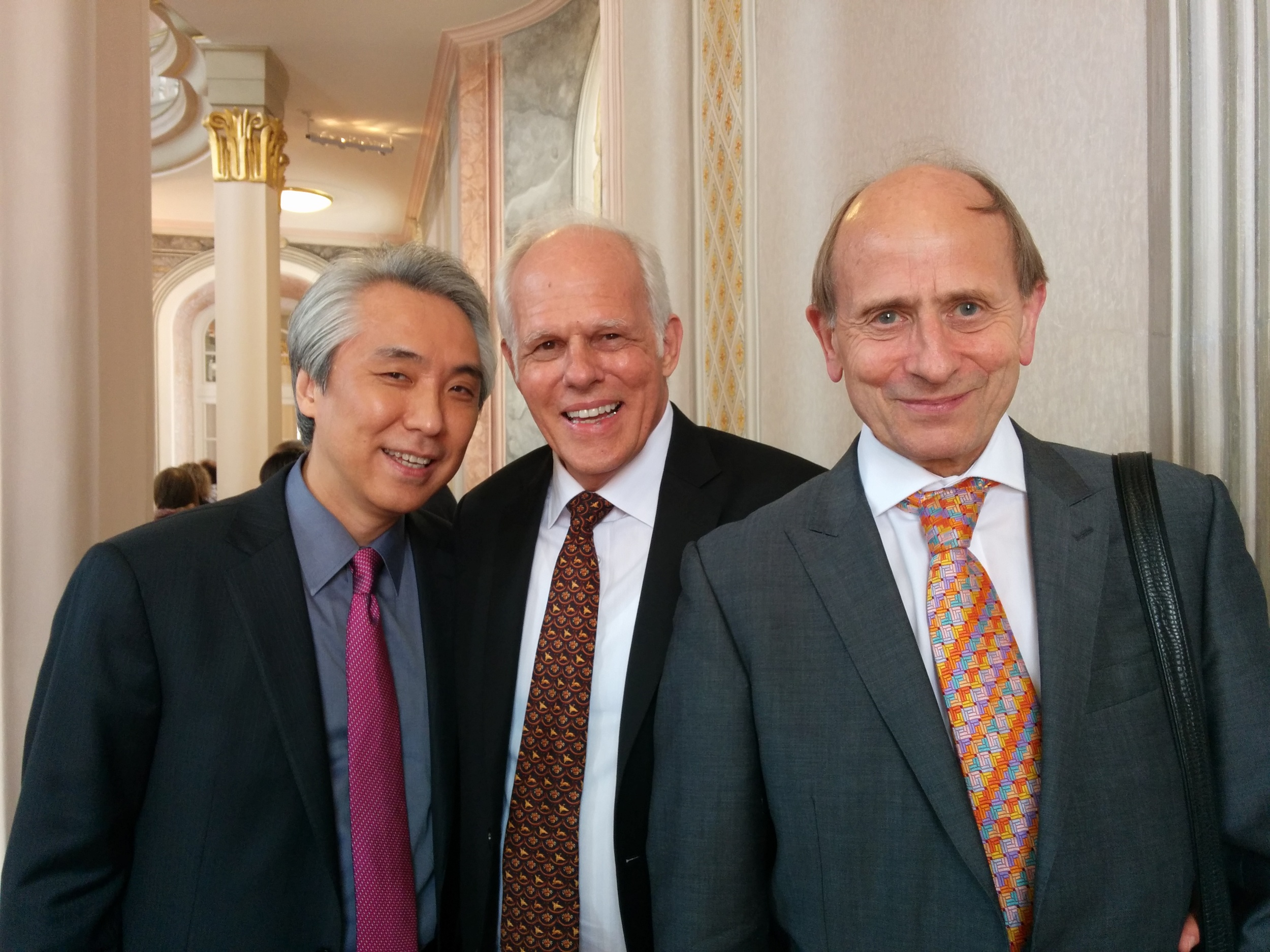 John Owings with Daejin Kim, Professor of Piano at the Korean National University of Arts and Christopher Elton, Professor Emeritus at the Royal Academy of Music, London.