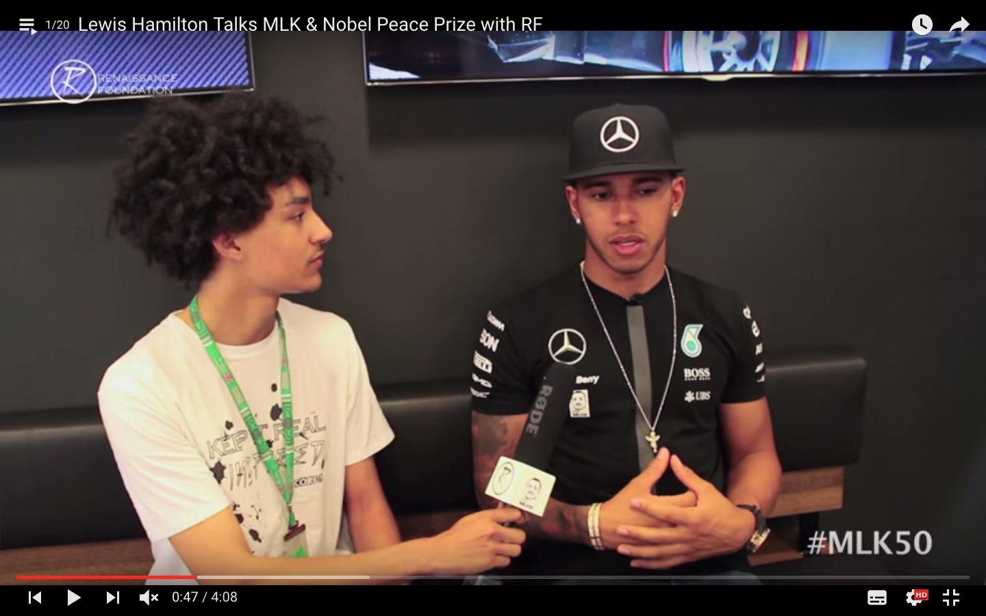 Corey speaks with Lewis Hamilton at the Mercedes F1 Team Centre in Silverstone at the British GP
