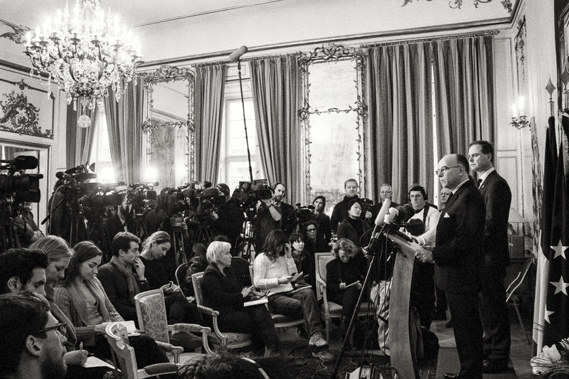 Sunday, February 15th 2015 (Afternoon)-  French Interior Minister  Bernard Cazeneuve  , that has arrived to CPH in sign of support, receives the media for a press conference at the French Embassy.