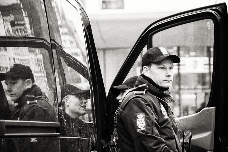 Copenhagen, Denmark-  February 16th 2015 - Police forces are still very present and visible at Noerroport Station,  and all around the city center.