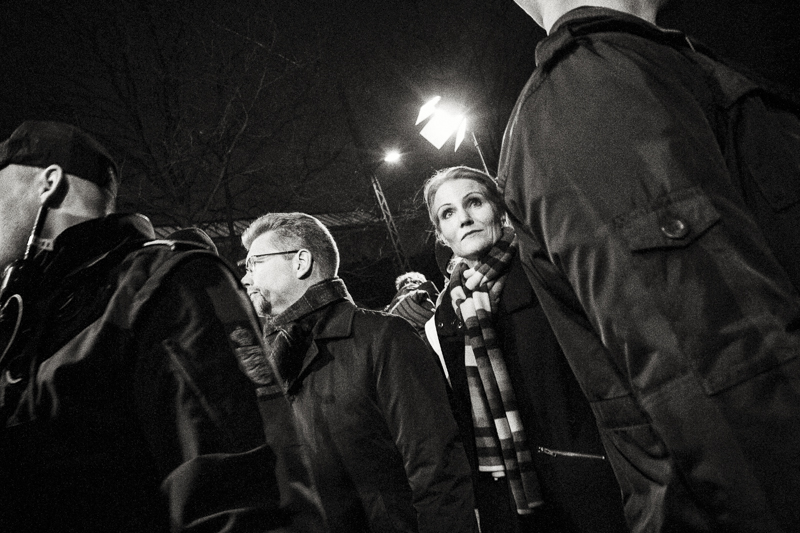 Copenhagen, Denmark- Feb. 16th 2015 - Danish PM, Helle Thorning Schmidt (R), stands next to the mayor of Copenhagen, Frank Jensen (L). Estimated 30.000 - 40.000 people attended the Memorial held this evening near Krudtoenden where the first shooting took place.
