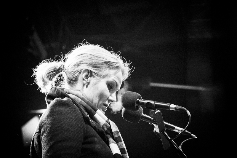 Copenhagen, Denmark- Feb. 16th 2015 - Danish PM, Helle Thorning Schmidt, during 1 minute of silence for the victims, stands on the stage in front of a massive crowd before hear speech during the Memorial held this evening near Krudtoenden where the first shooting took place.