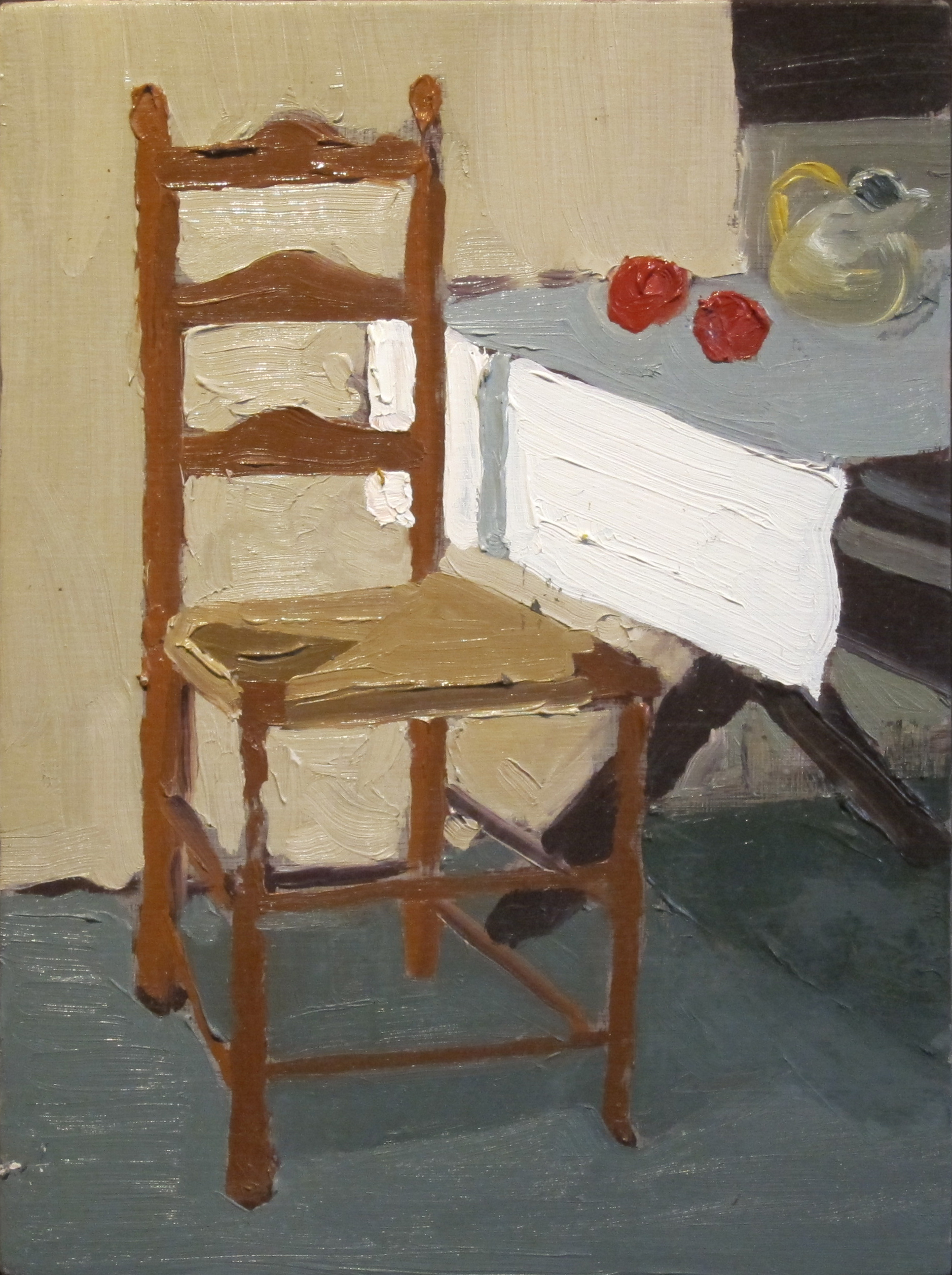 Chair with two tomatoes