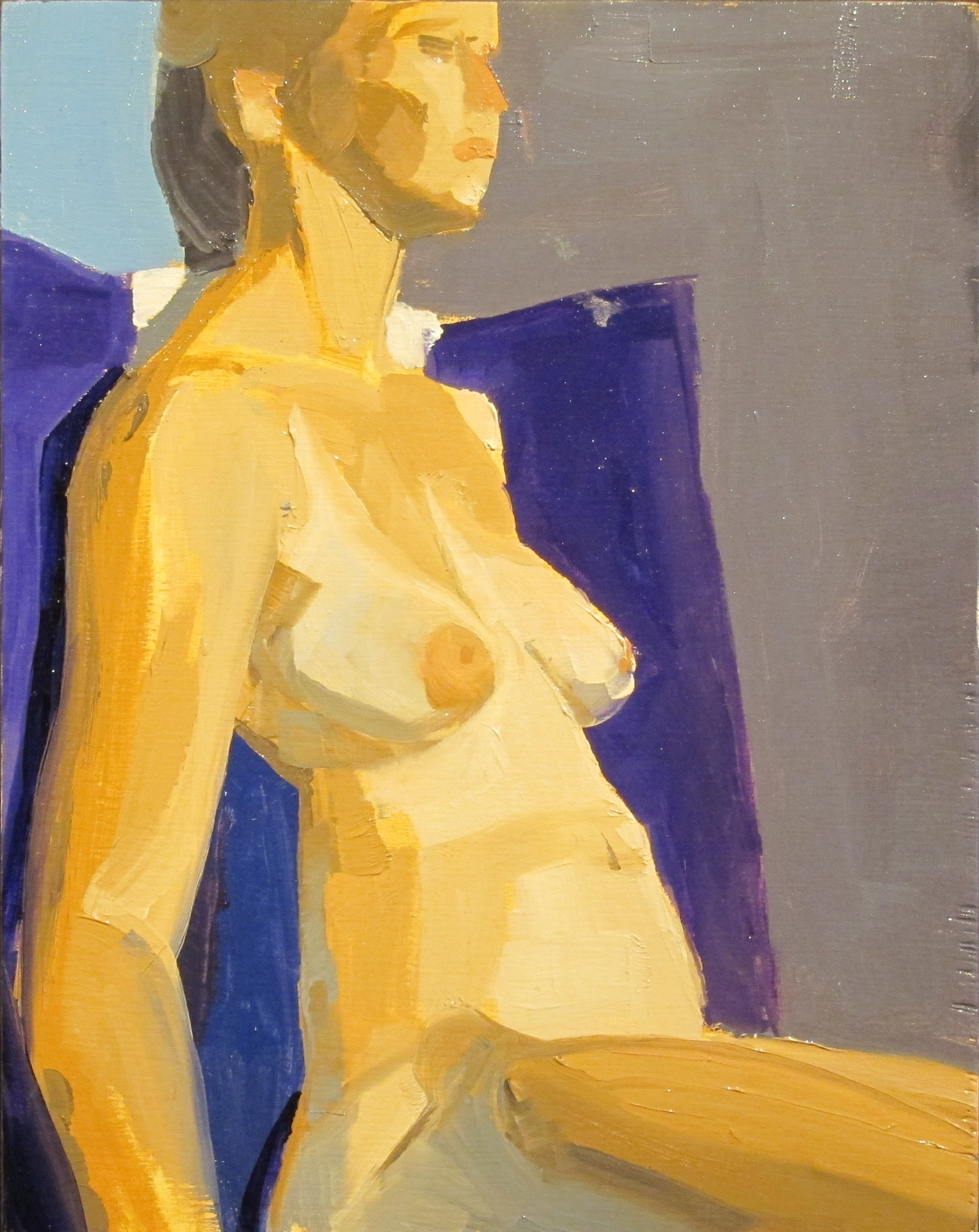 Seated nude with purple pillow