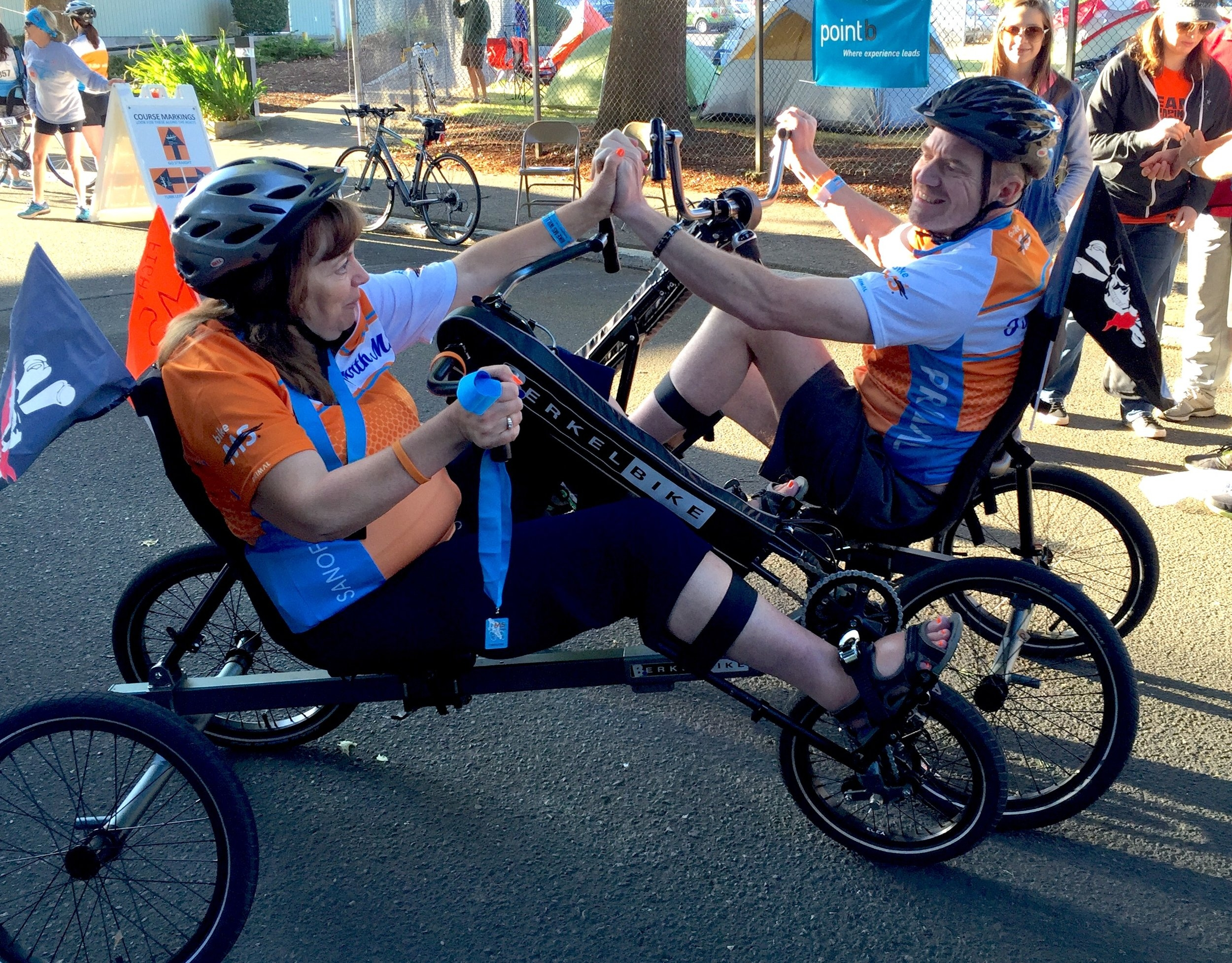 "Carol and I after finishing the 1 mile ""I ride with MS"" during the 2016 Oregon Bike MS"