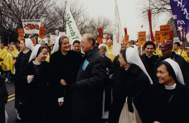 John Cardinal O'Connor with the Sisters of Life at the March for Life   http://cardinaloconnorconference.com/wp-content/gallery/cardinal-oconnor/sheridan_jcoc-and-sv-at-march-for-life.jpg