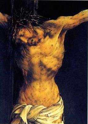 """Christ on the Cross"" (detail from the central Cruxifixion panel of the Isenheim Alterpiece), by Matthias Grünewald  http://www.wikiart.org/en/matthias-gr-newald/christ-on-the-cross-detail-from-the-central-crucifixion-panel-of-the-isenheim-altarpiece"