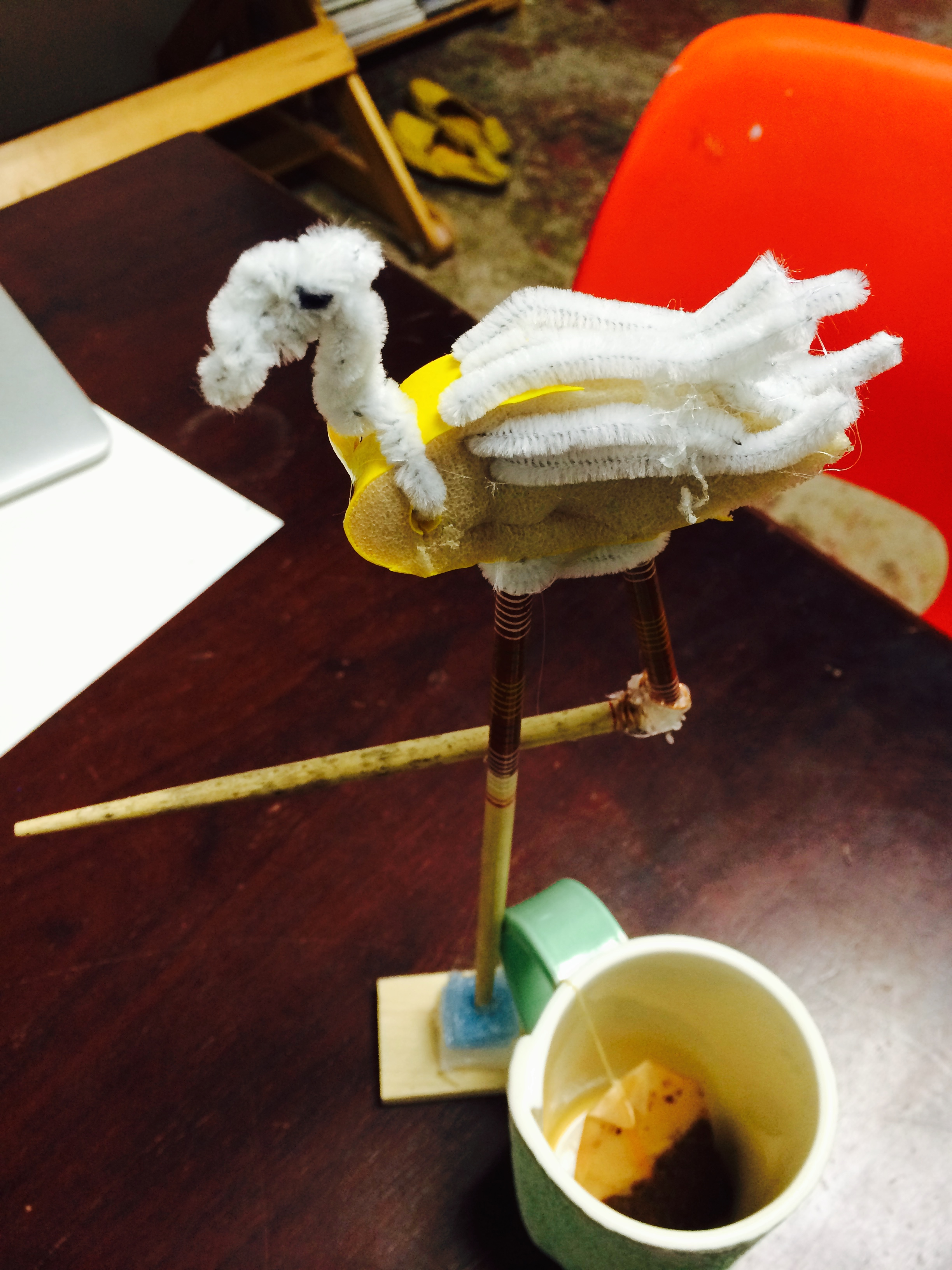 Incredible little found object sculpture: foam, pipe cleaners, chop sticks...