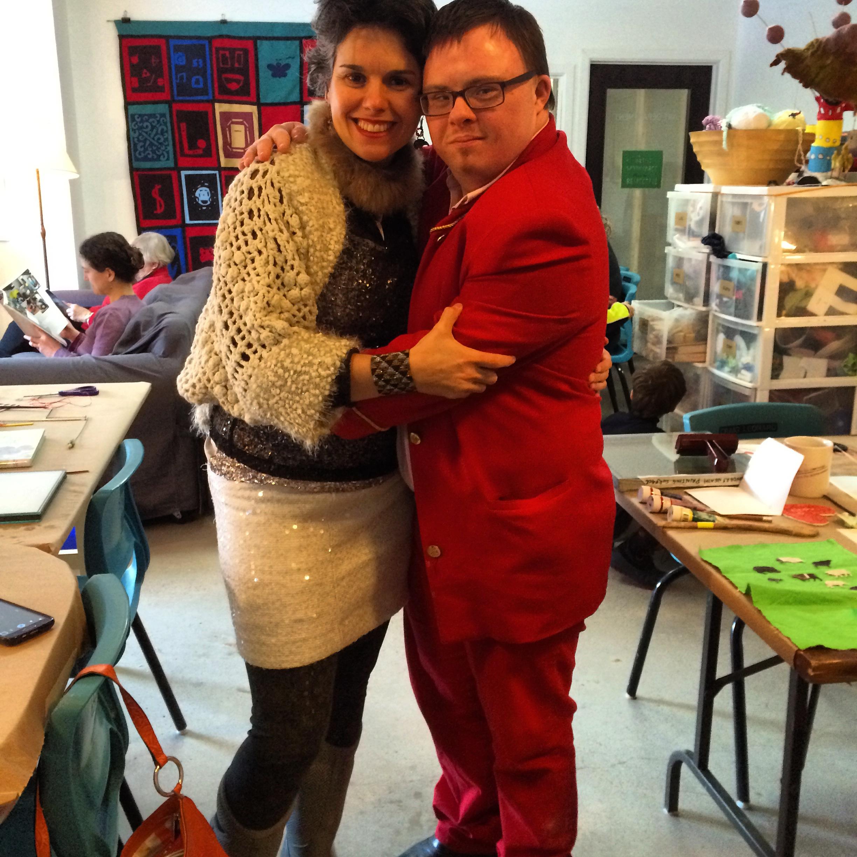 Beautifully dressed friends reunite at Open Studio!