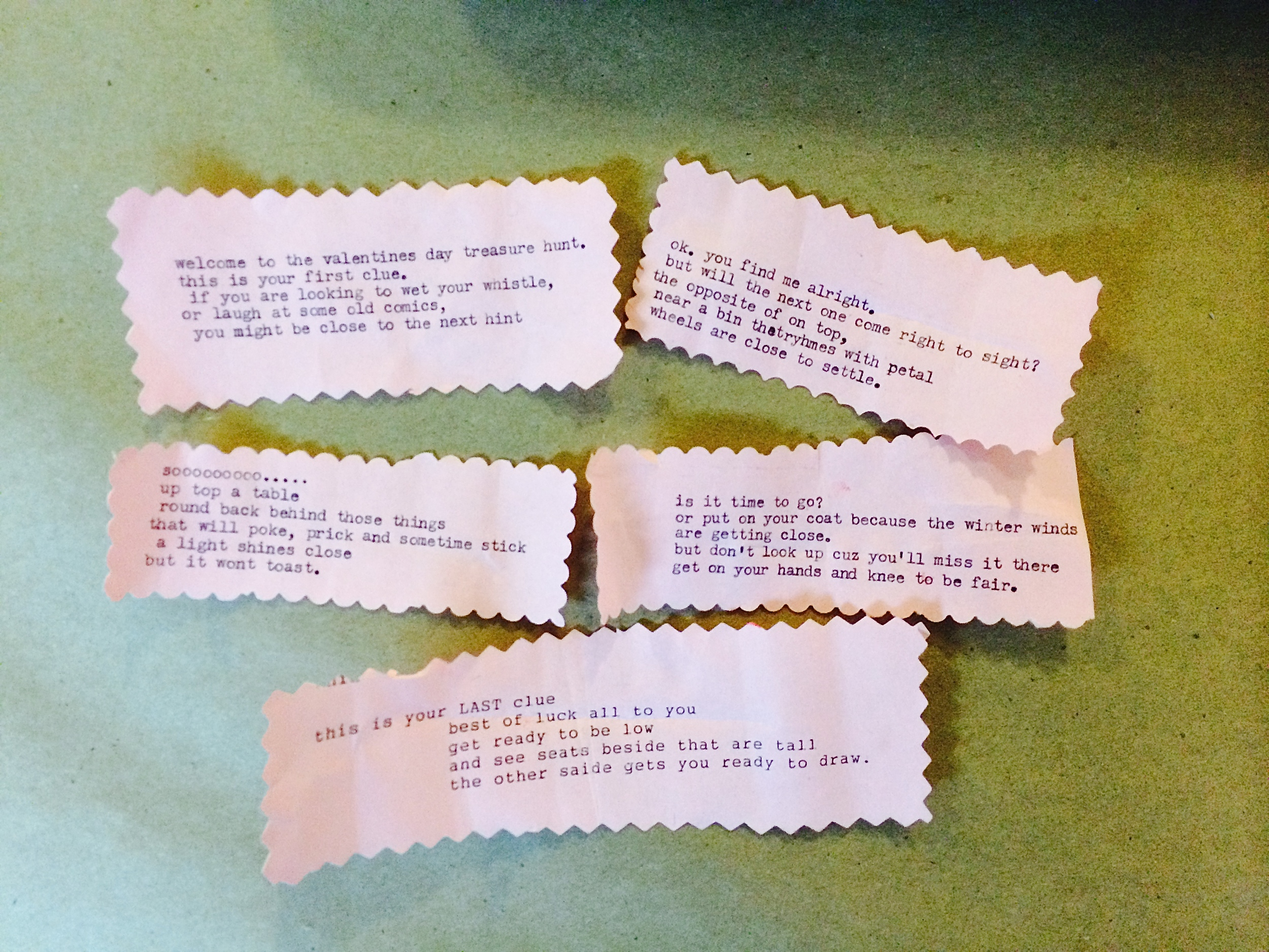 A valentine's day treasure hunt - one of the most innovative uses of the typewriter! Also, a collaboration between adults and kids!