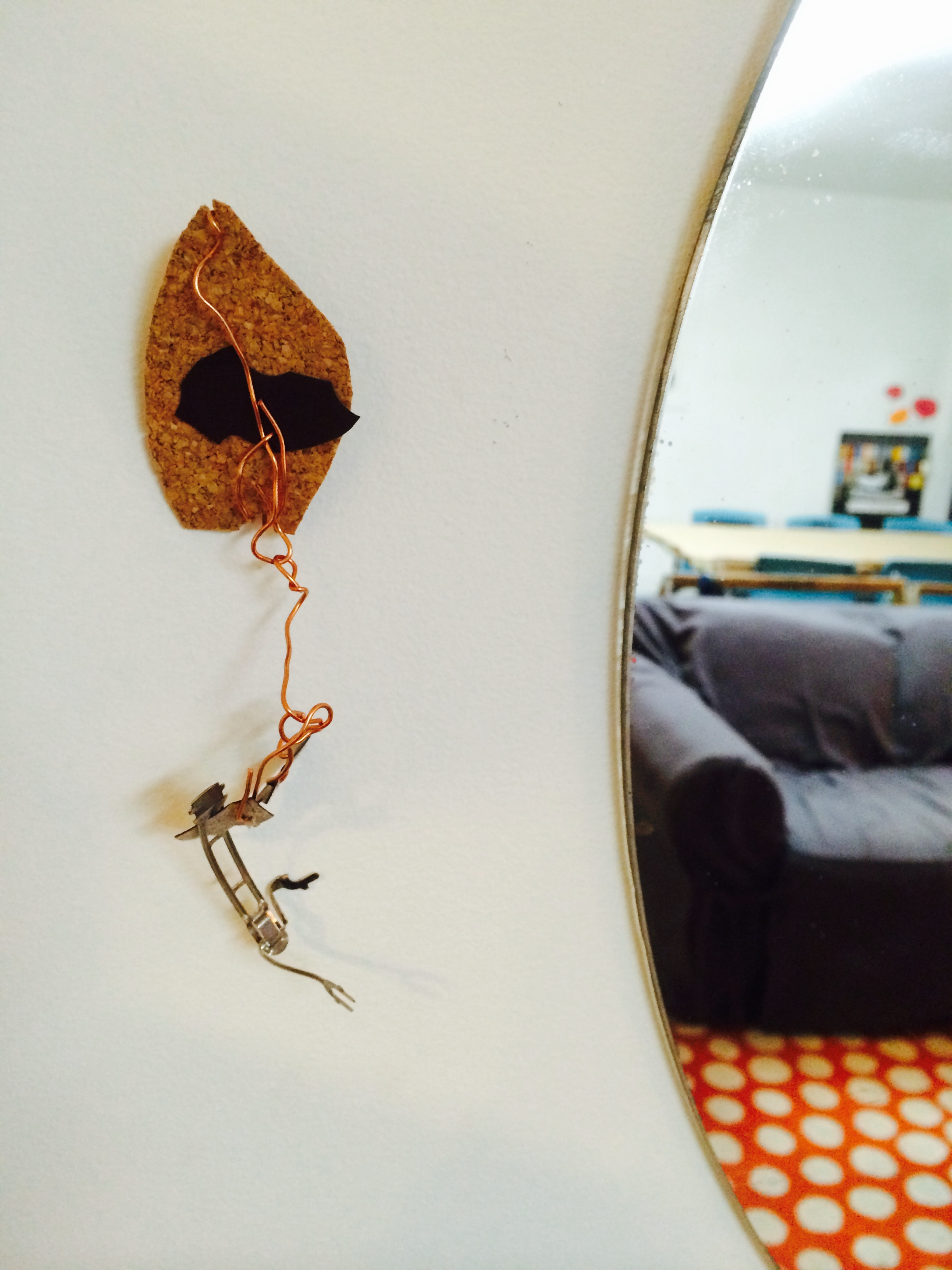 And a final little moment from today: lovely kite sculpture from wire, found objects from the metal category and cork.