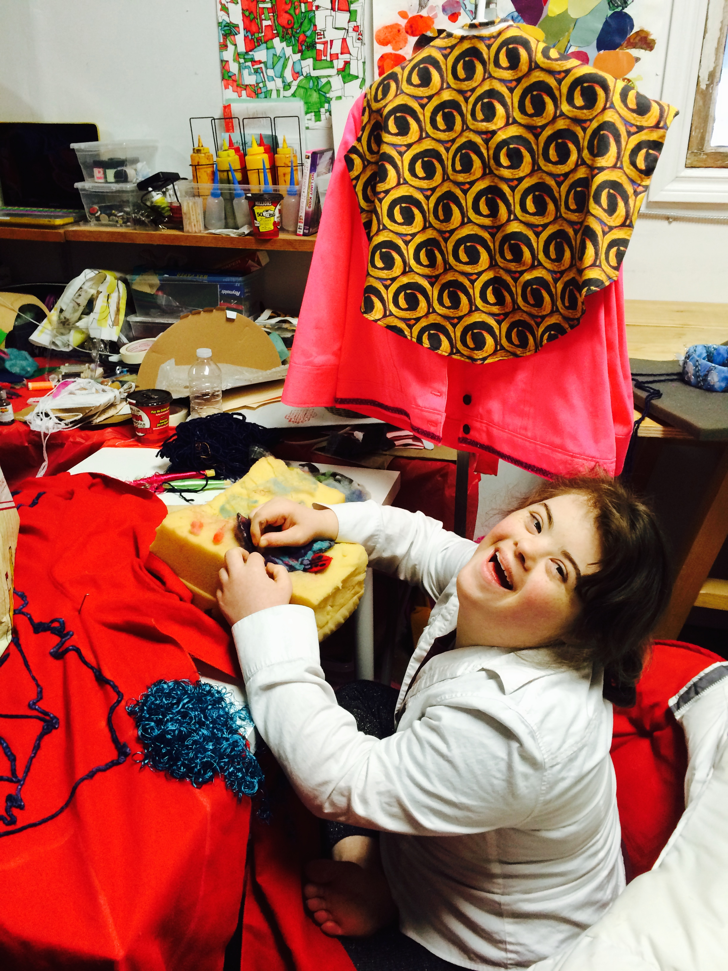 Just outside of Open Studio, one of our Wonder'neath artists diligently at work on Wearable Art Show fashion!