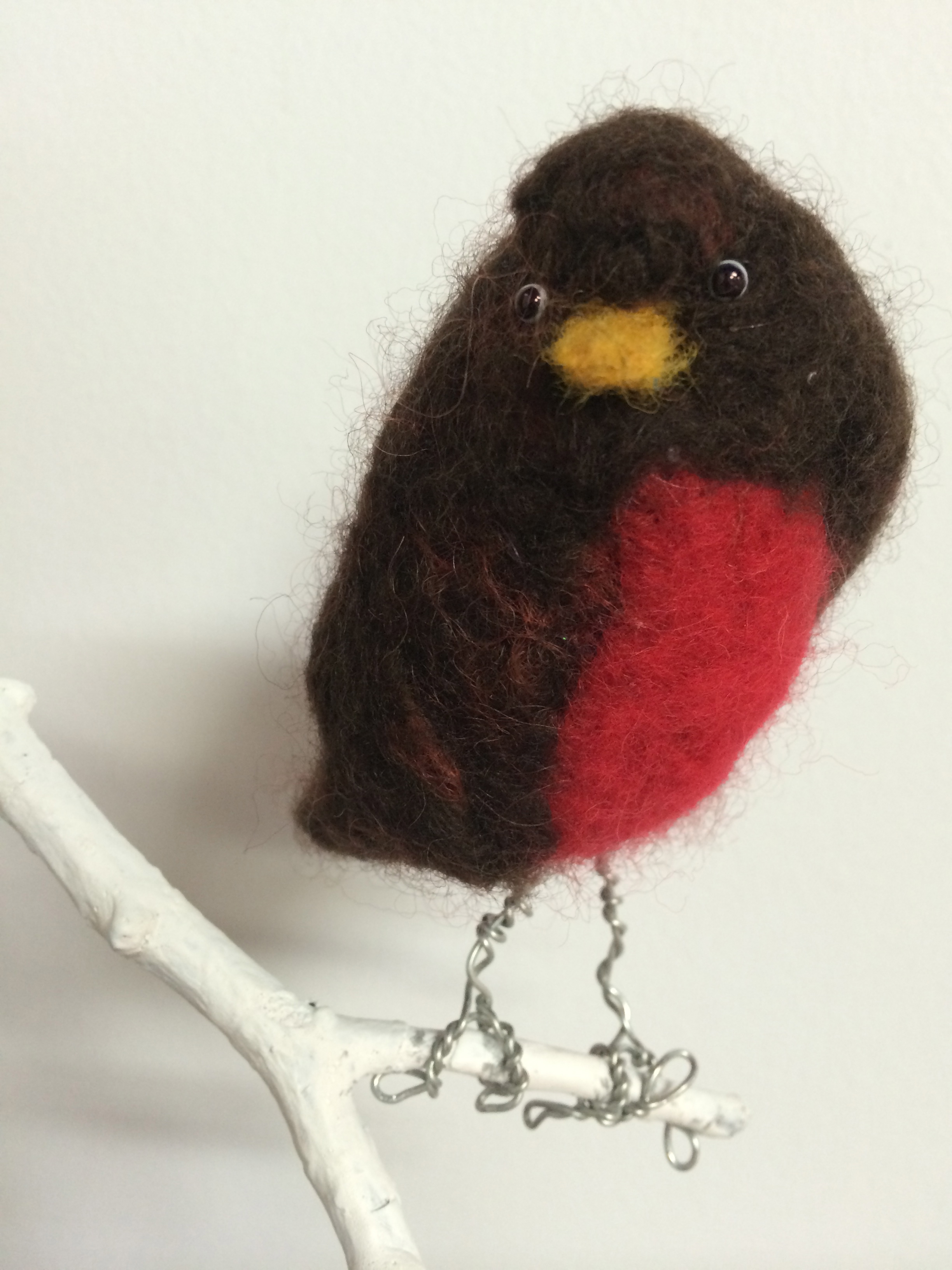 Prototype: Felt, wire, found object bird sculpture - just in time for spring!