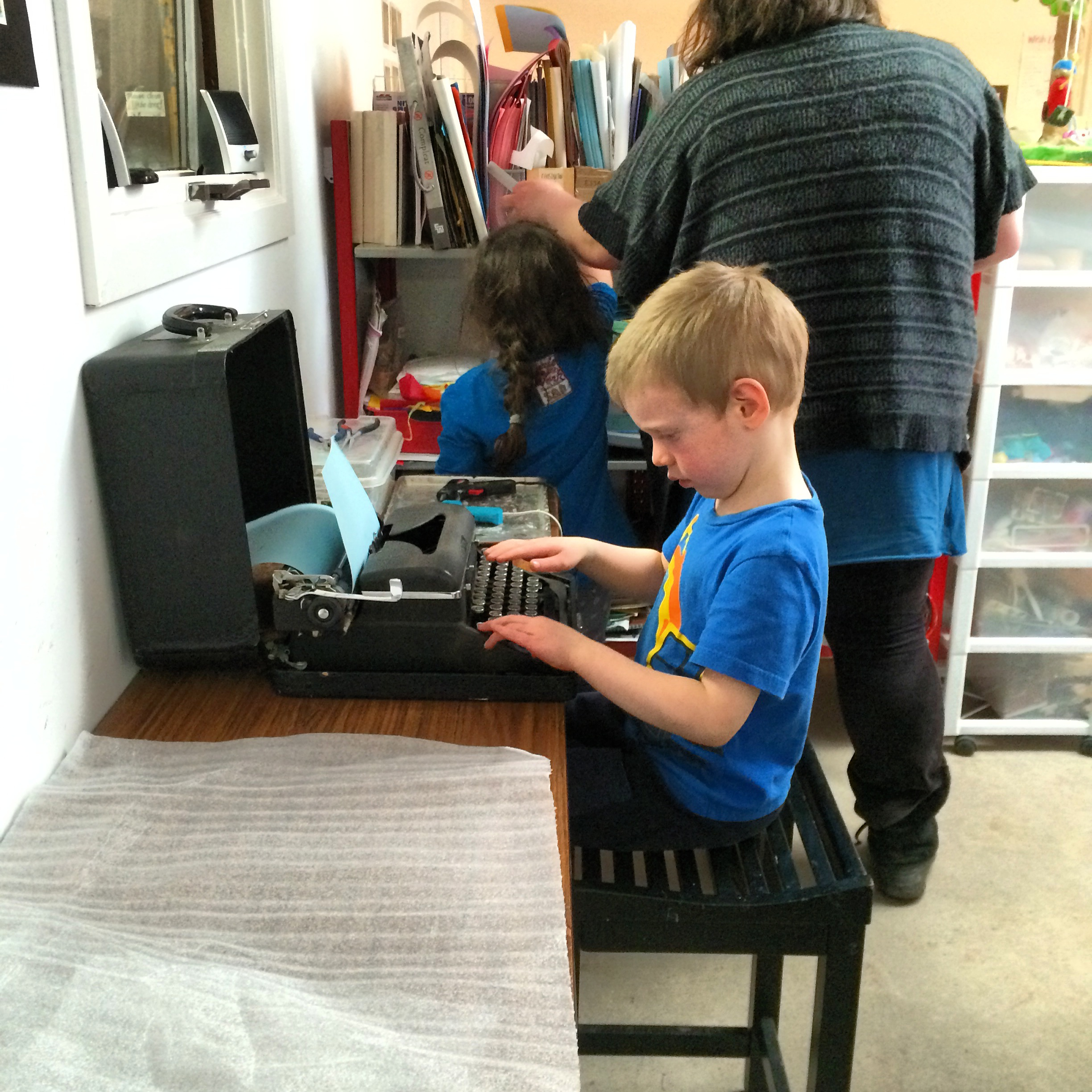Violet the manual typewriter that belonged to our board member, Cecilia's grandmother!