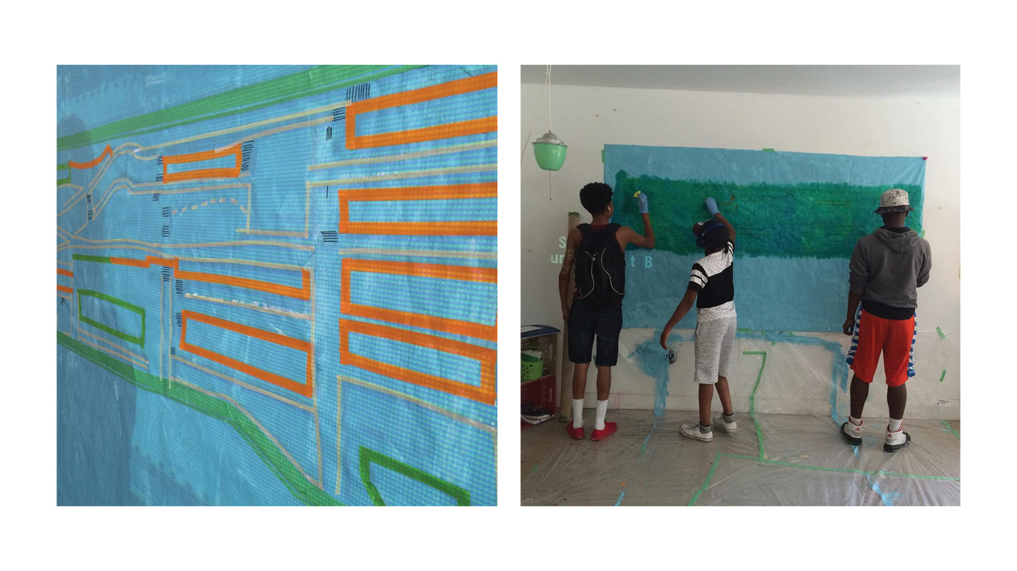 We taped off a projected map of Mulgrave Park and sponged on several shades of greens and blues to add more depth, treating the map almost like a quilt.