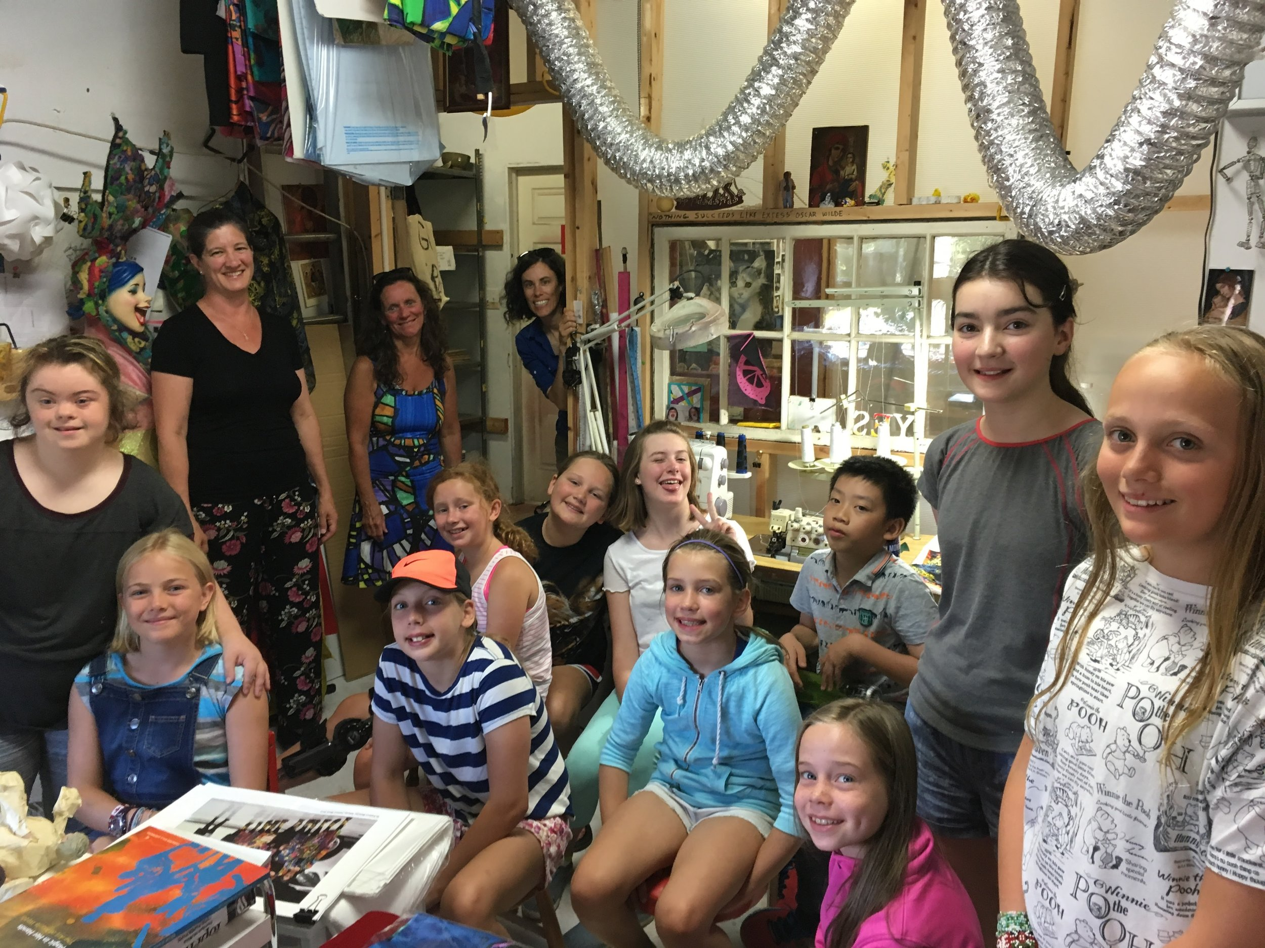 A mid-week visit by Armbrae Academy artists in Cynthia Lewis's summer session: checking out Lemonade Stand Design and learning about artist Marie Webb's process.