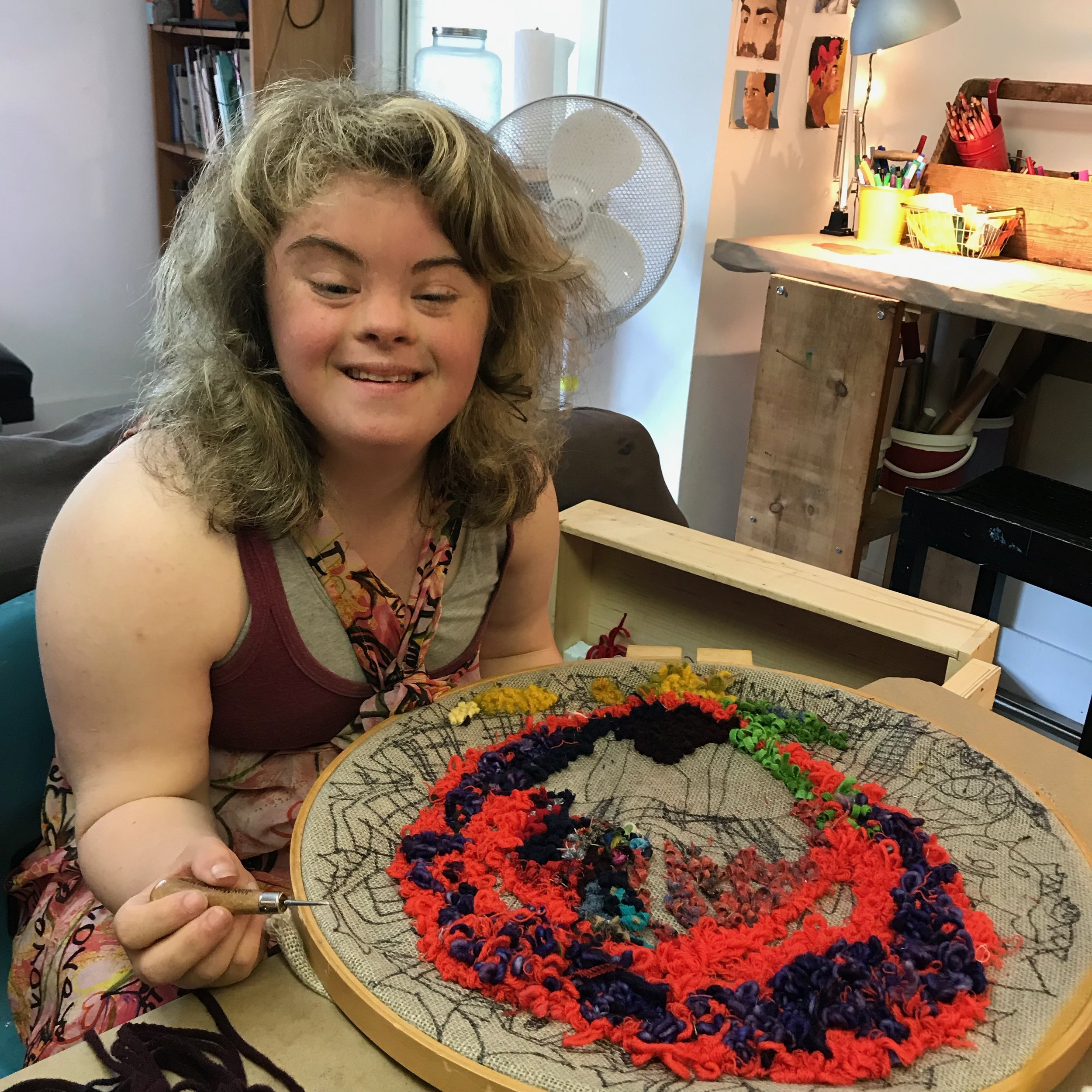 Wonder'neath's Studio Artist Program is the heart of the studio. Practicing artists develop their work in a variety of mediums and share with the public through informal and scheduled events. Marie has recently been rug hooking and was eager to explore her new passion during an Open studio session!