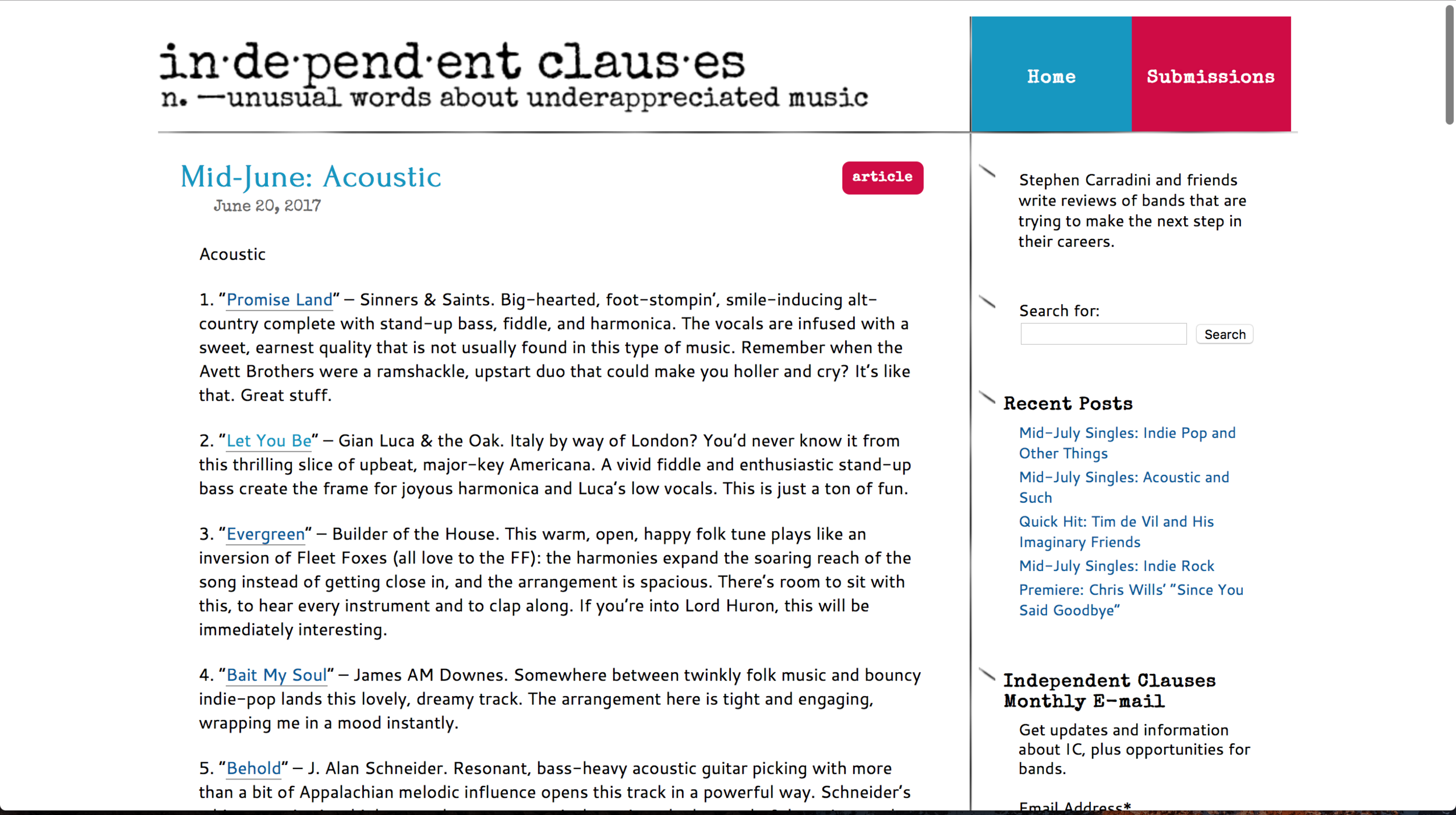 """Independent clauses   """"A vivid fiddle and enthusiastic stand-up bass create the frame for joyous harmonica and Luca's low vocals. This is just a ton of fun.""""    by Stephen Carradini - June 2017"""