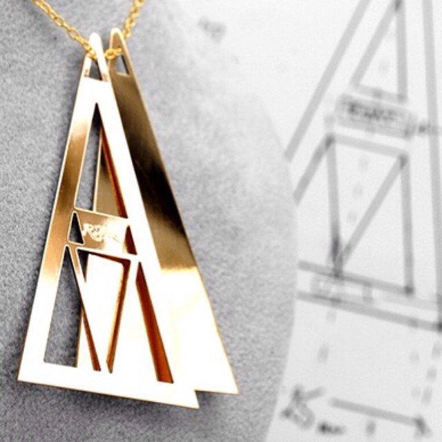 Individualize your style with RiVazi Tri Necklace. #rivazi #necklace #jewelry #gold #silver #bronze #one #style #different #tri #triangular #nyc #fit #fashion #trendy