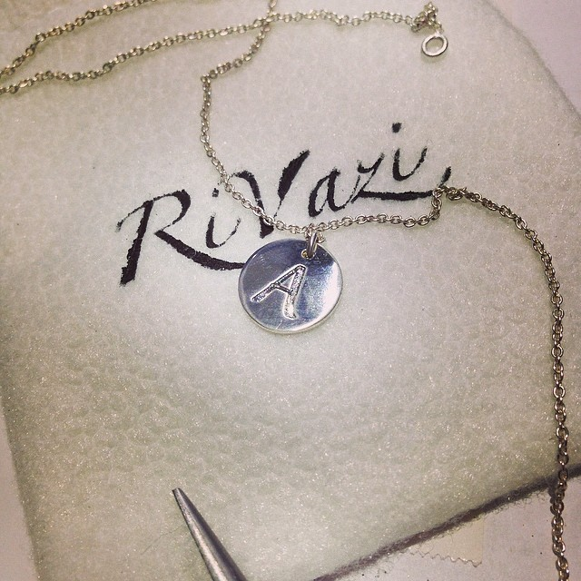RiVazi Initial Necklace  #rivazi #jewelry #necklace #silver #gold #custom #initial #solitary #charm #disk #simple #daily #jewelry #a#perfectfit #forher #birthday #gift #brand #nyc