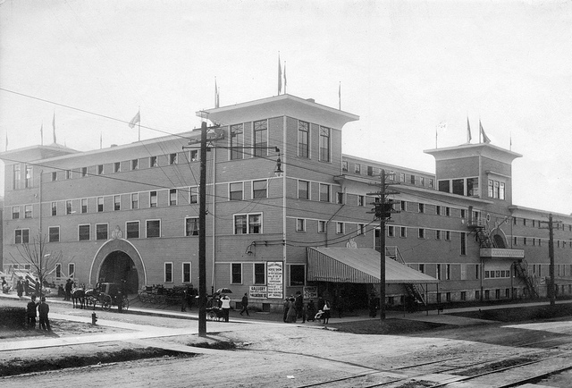The Horse Show Building at Gerogia & Gilford in 1910. (W.J. Cairns Photo courtesy of Vancouver City Archives)