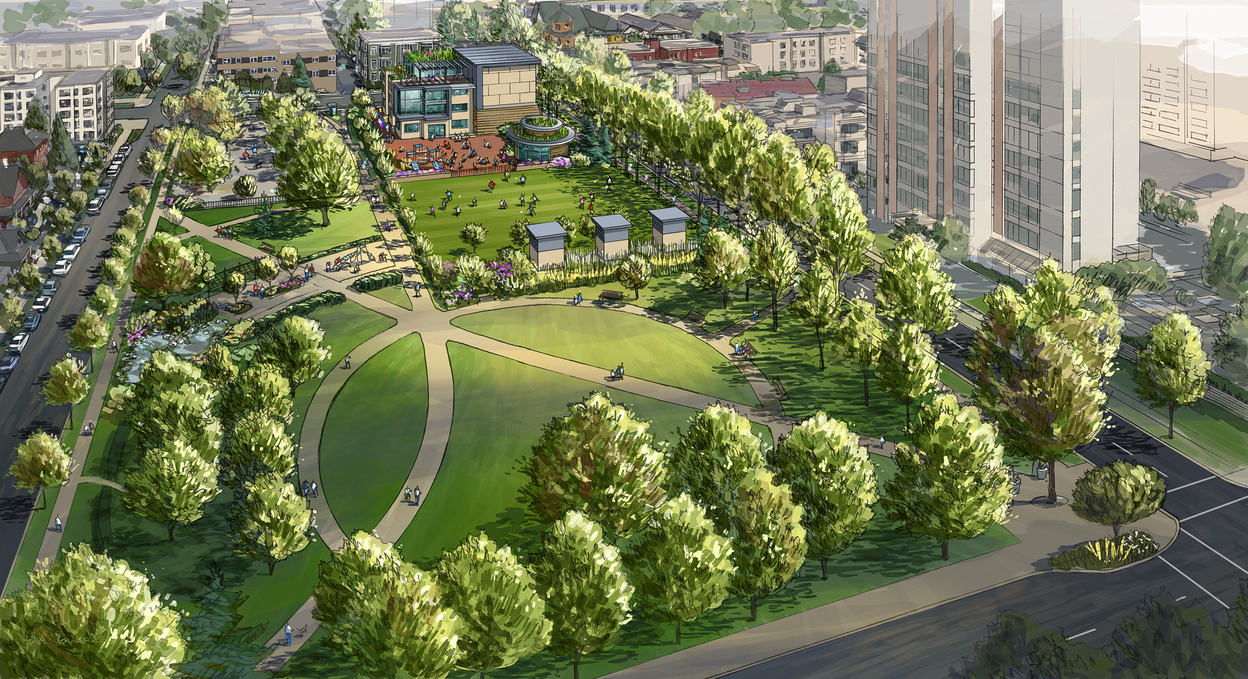 Artist's vision of nelson park after redevelopment.