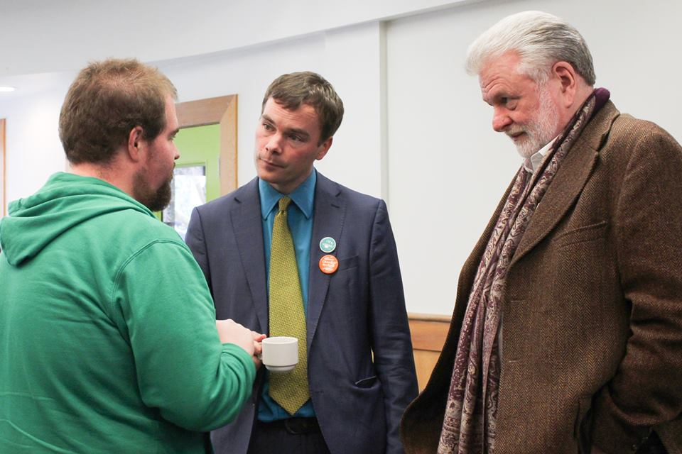 NDP candidate Spencer Chandra Herbert and The West End Journal editor Kevin Dale McKeown with a forum attendee.