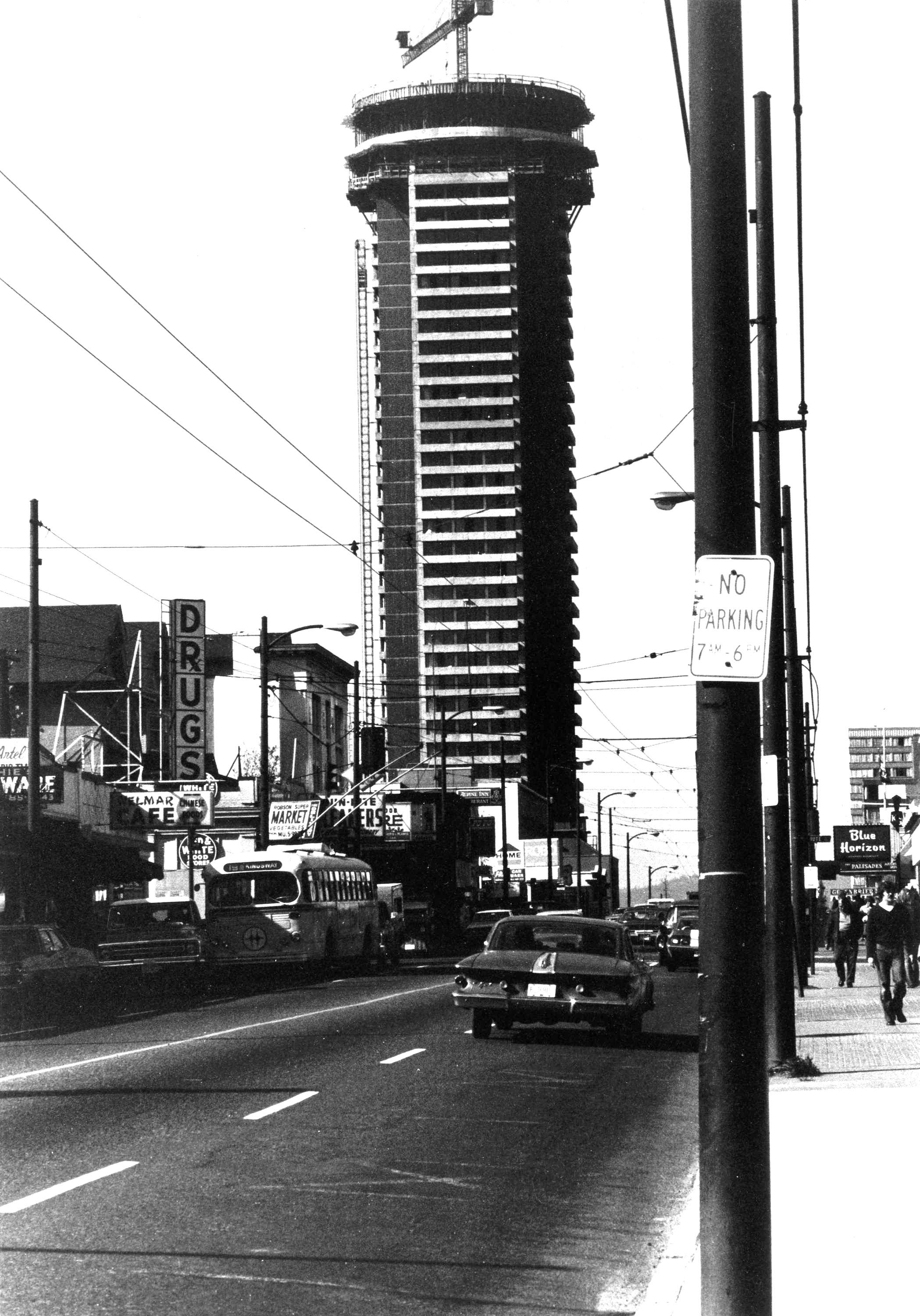 The Landmark Hotel just before it was completed in 1973