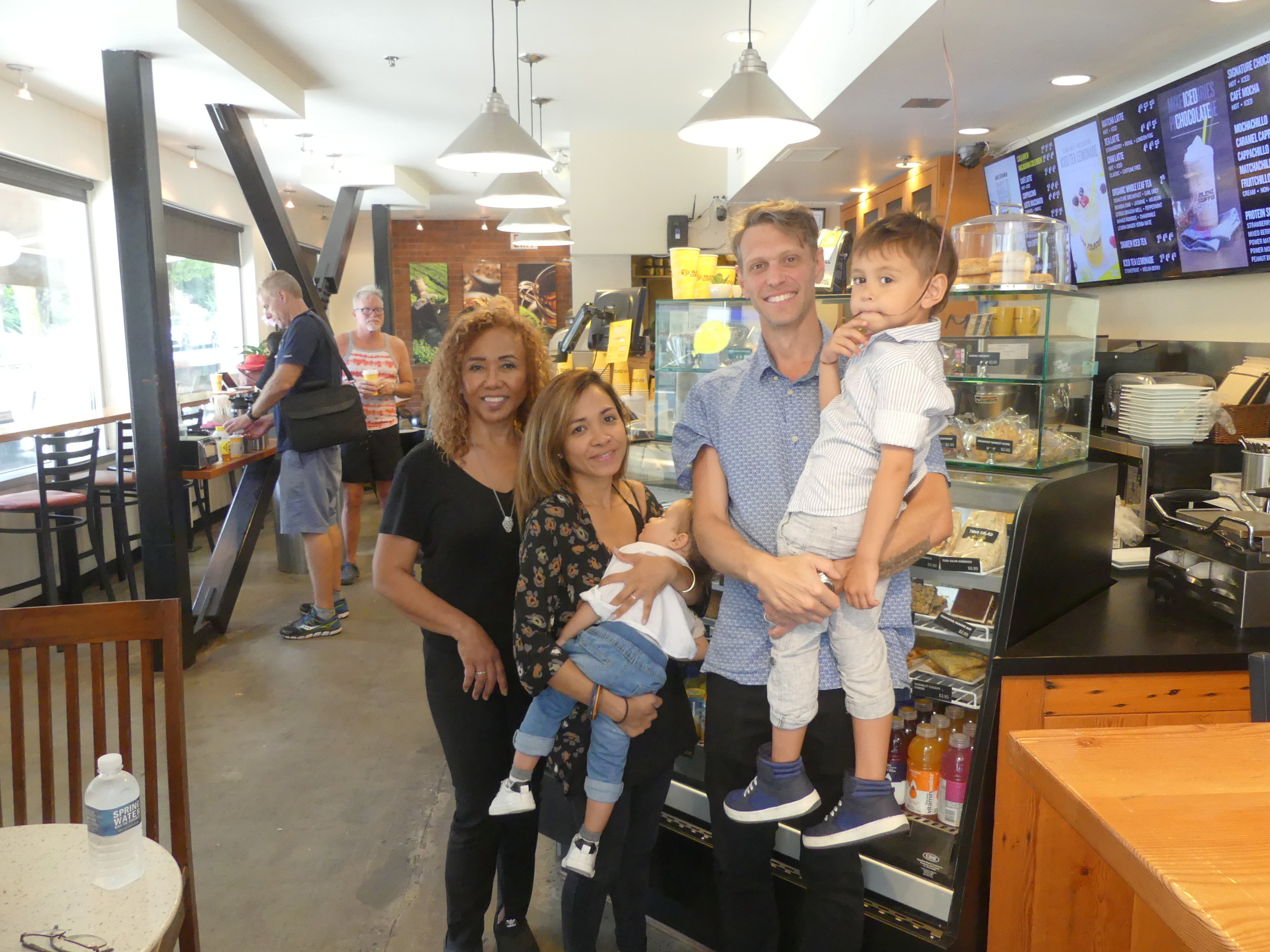 Under New Management! A big West End welcome to the new owners of Blenz on Denman (from left): Elizabeth Silva, her daughter Jaysh Varesio, 18-month-old Brooklyn, Michael Varesio, and four-year-old Rome. Welcome to the 'hood!