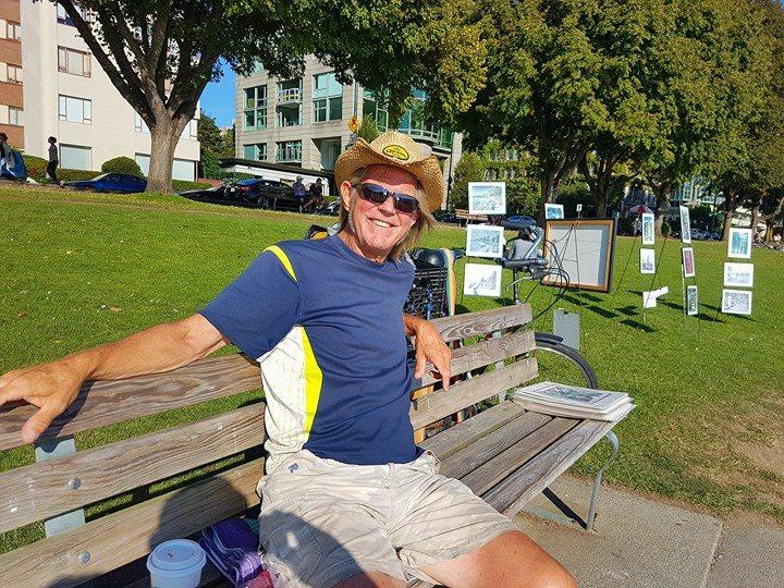 Peter Berg, benching it at English Bay
