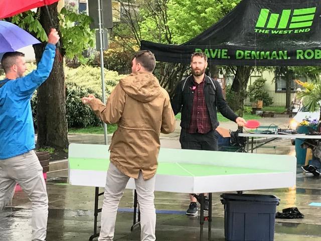 A little rain won't stop a good round of table tennis at Jim Deva Plaza! (John Streit Photo)