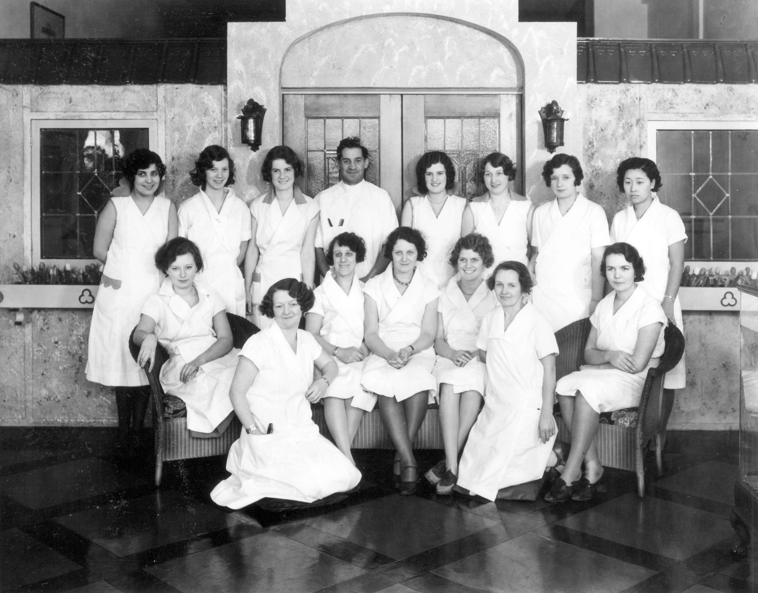 This November 20,1931 photo shows students and instructor's from Maxine's Beauty School. (Stuart Thomson Photo Courtesy of City of Vancouver Archives)