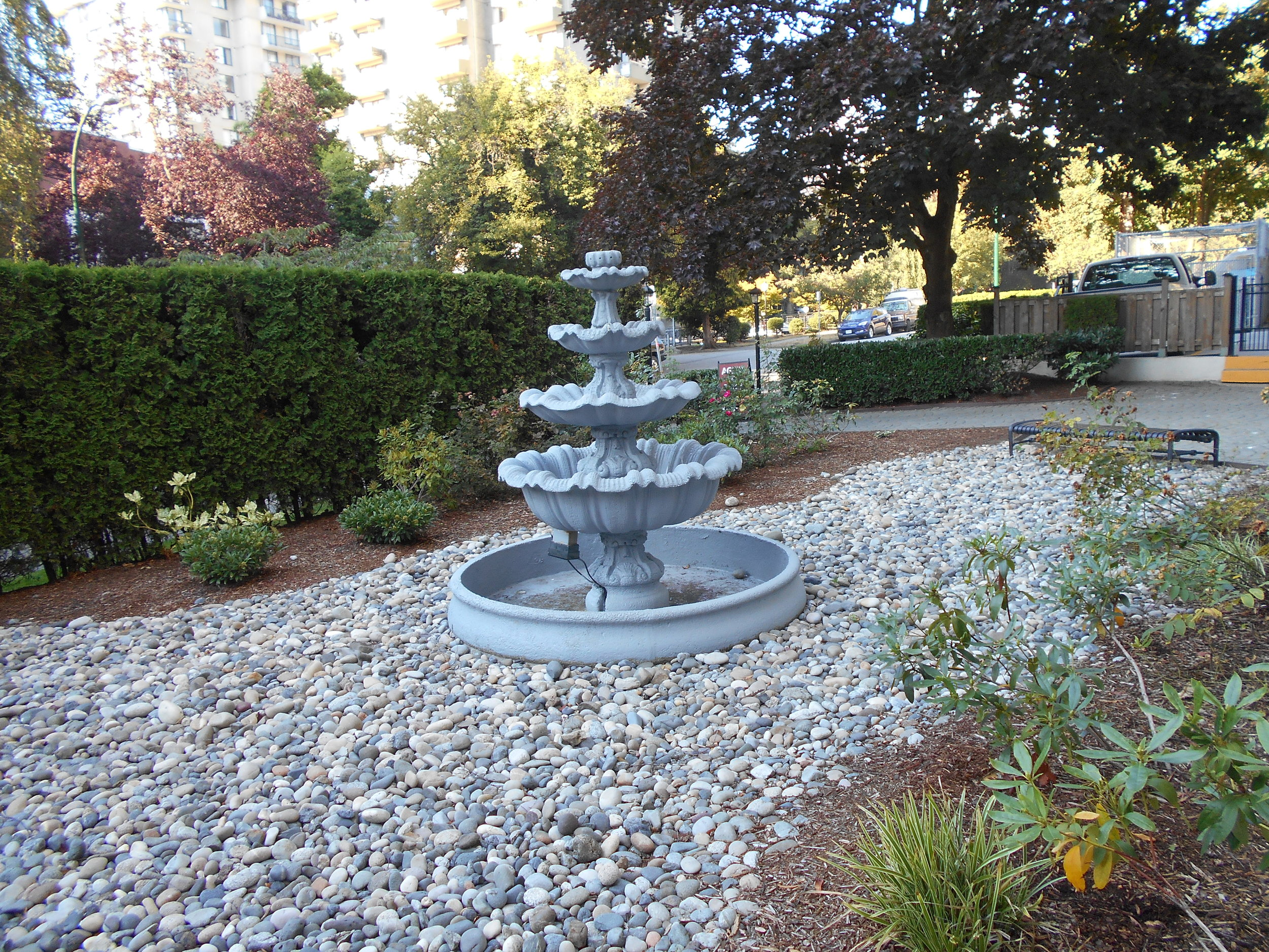 Four-tiered fountain at Ocean Park Place.