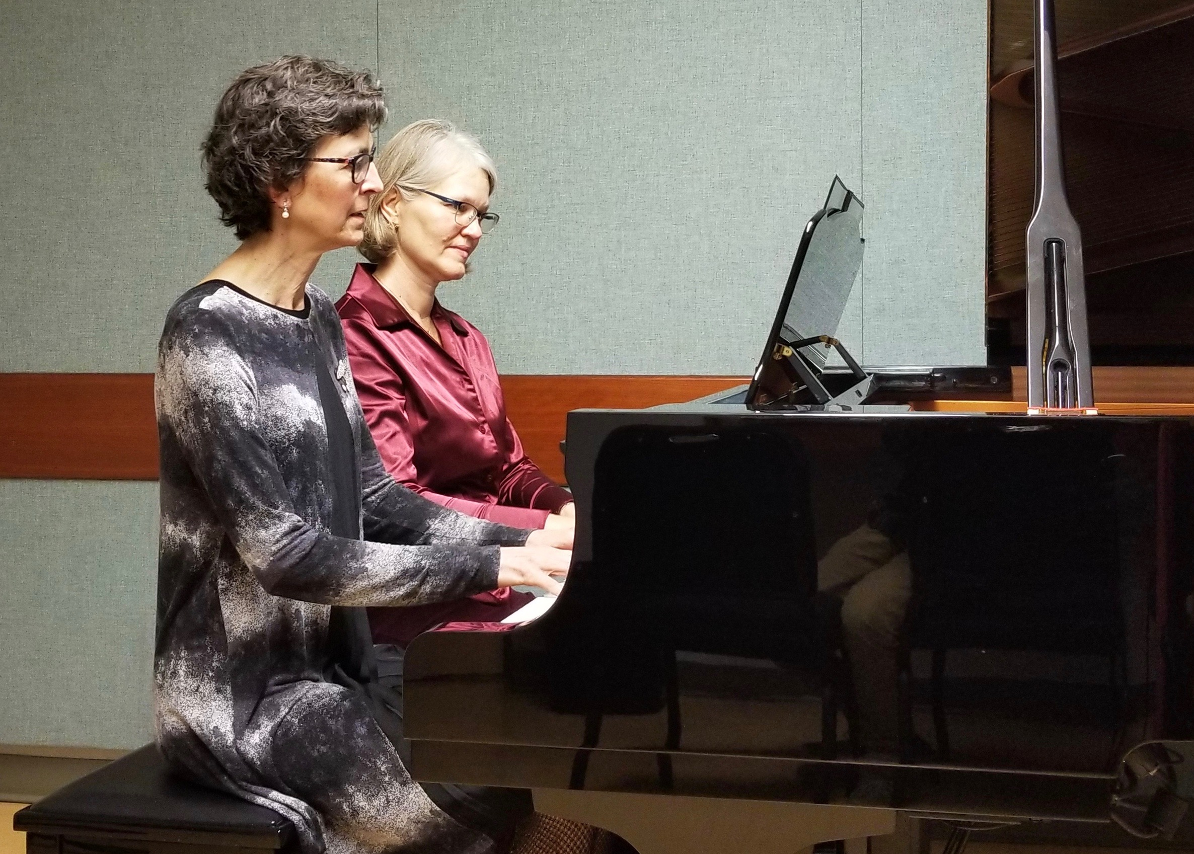 Rita Attrot and Helen Hall at Roedde House Museum Dec. 9.