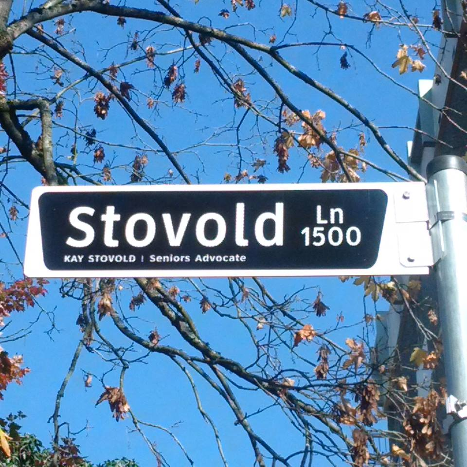 The new sign at Stovold Lane.