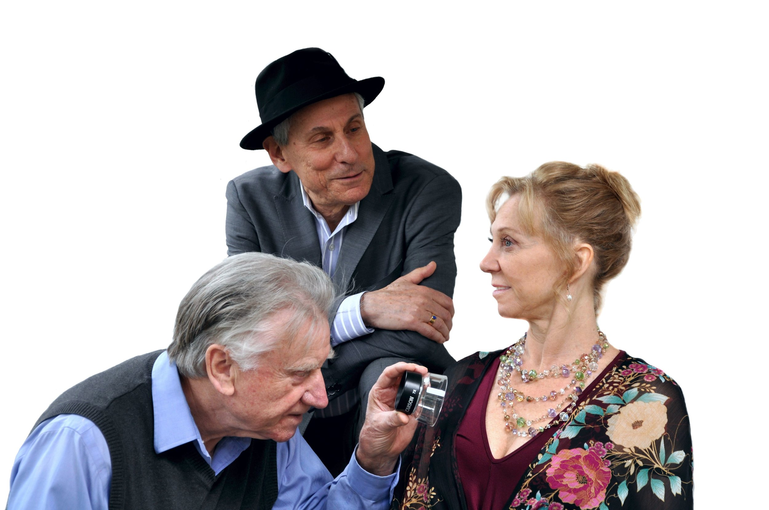 From left: Terence Kelly, Jerry Wasserman, and Annabel Kershaw in Jack of Diamonds, at PAL Studio Theatre.