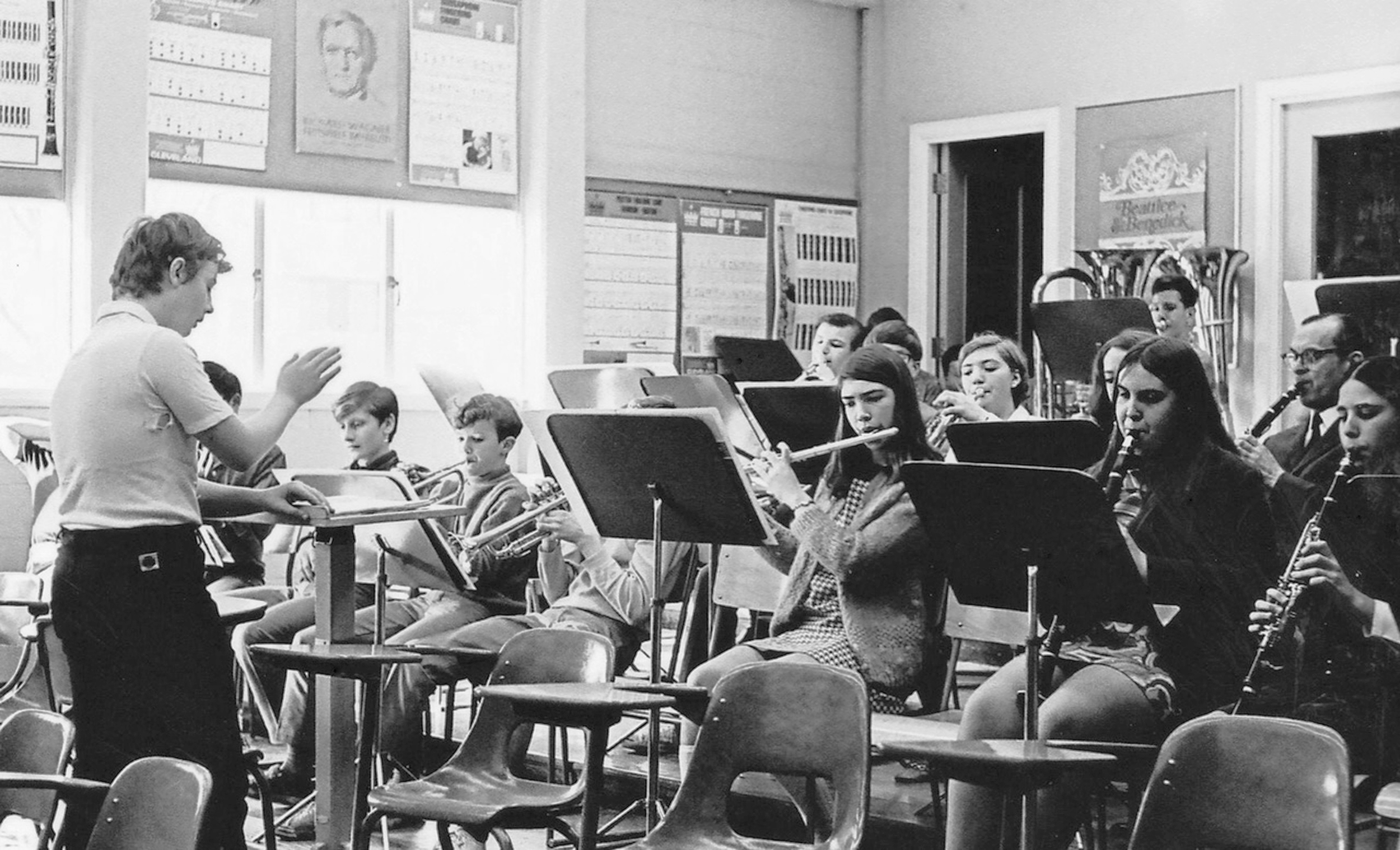 A King George music class circa 1970, with French teacher Mr. Carr. (Chris Bovay Photo)