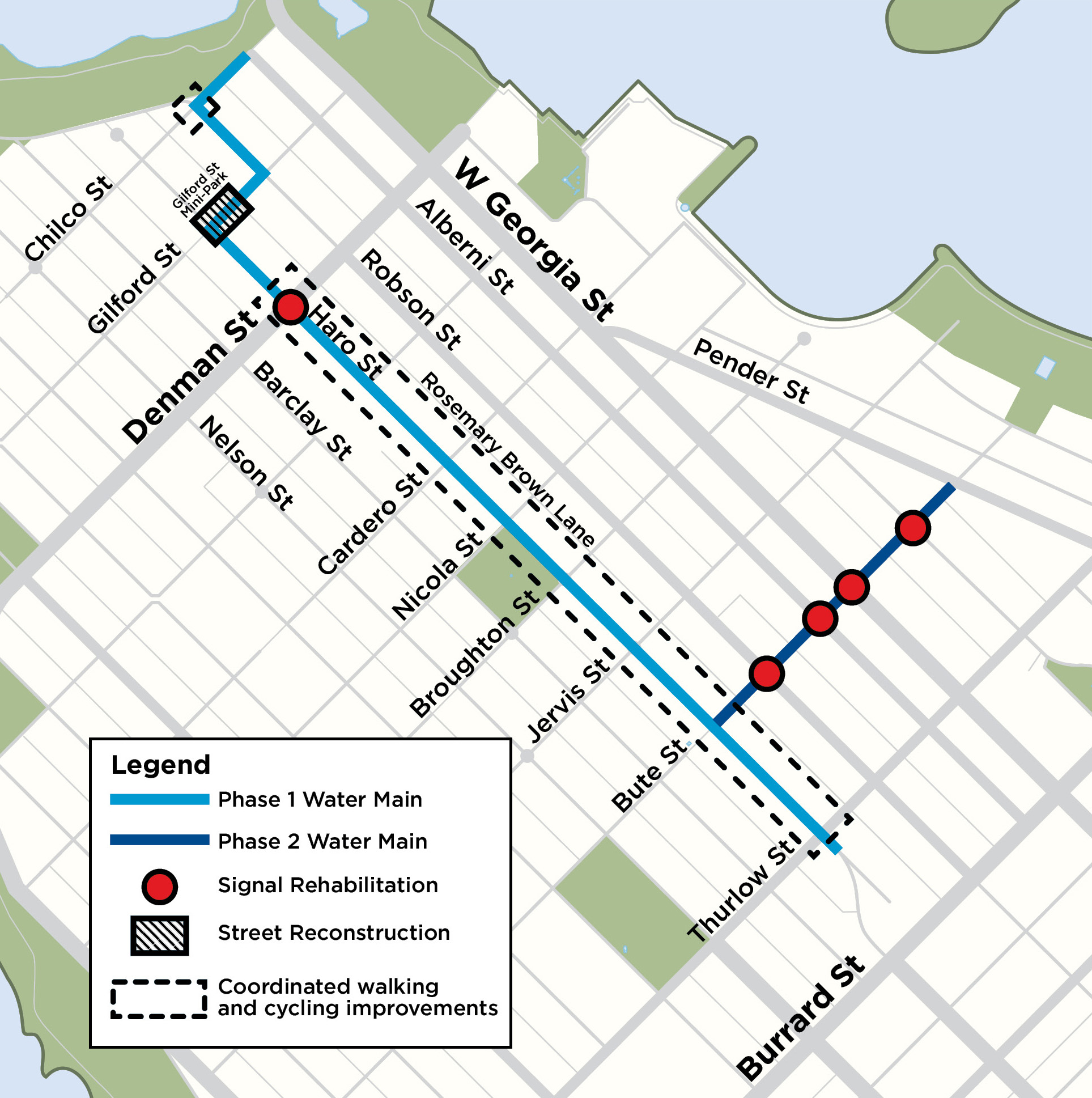 The route of the West End water line upgrades. (click to enlarge)