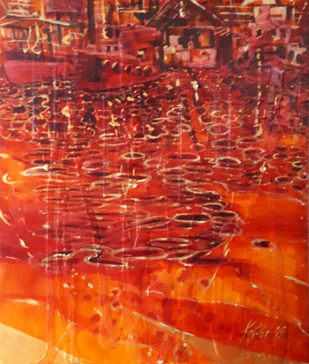 Granville Island Rain (Acrylic On Canvas (24 x 20 x 1.5 in) by Kathleen Tonnesen.